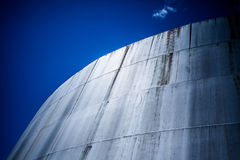 Detail of a Big Abandoned Oil Refinery Gas Tank Royalty Free Stock Image
