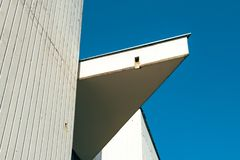 Abstract detail of 1980s architecture. In eastern Europe against blue sky stock photos