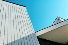 Abstract detail of 1980s architecture. In eastern Europe against blue sky royalty free stock photography