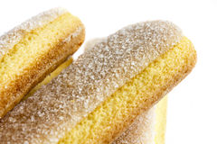 Abstract detail of savoiardi sponge biscuits and sugar crystals. Stock Photo
