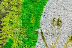 Abstract detail of wall with fragment of colorful graffiti. Urban Art closeup. Concept of Modern iconic urban culture Royalty Free Stock Photos