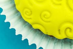 Abstract detail of yellow cupcake Royalty Free Stock Photo