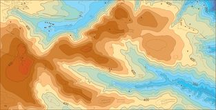 Abstract detailed color vector topographic elevation map royalty free stock images