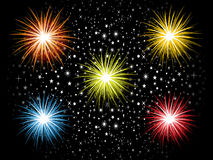 Abstract detailed colorful cracker explode in sky Stock Photography