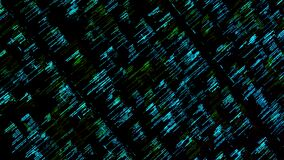 Abstract details of computer language, lines flowing on black background, seamless loop. Animation. Programming code