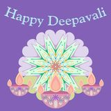 Abstract dewali design with Poster happy deepavali on beautiful color background vector illustration