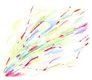 Abstract diagonaal onzorgvuldig gekleurd patroon met rode aders, die met de hand met geïsoleerde kleurpotloden op een witte achte royalty-vrije illustratie