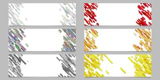 Abstract diagonal rounded stripe pattern banner template design set Royalty Free Stock Image