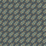 Abstract diagonal seamless pattern with leaves. In brown, turquoise and creamy white colors on dark grey background Stock Images