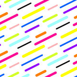 Abstract diagonal sticks seamless vector pattern. Colorful neon simple shapes background for website wallpaper Stock Photos