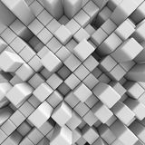 Abstract Diagonal White Cubes Background. 3d Render Illustration Royalty Free Stock Photos