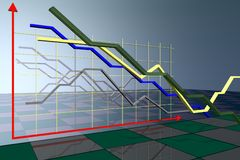 The abstract diagram of economic parameters. 3d model Stock Photography