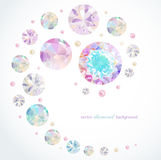 Abstract diamond background. Abstract background with diamonds and pearls vector illustration