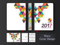 Abstract Diary Cover design for 2017 year. Personal Organizer, Notebook or Diary Cover with colorful abstract design for the year 2017 Royalty Free Stock Photo