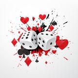 Abstract dice background with splatter and playing card symbols Royalty Free Stock Photos