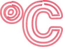 Abstract die celciussymbool met rode teller wordt gemaakt Royalty-vrije Stock Afbeeldingen