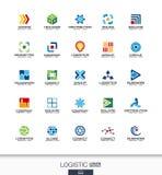 Abstract die embleem voor bedrijf wordt geplaatst De uitvoer, vervoer, leverings en distributieconcepten Logistisch, het verschep Stock Afbeelding
