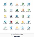 Abstract die embleem voor bedrijf wordt geplaatst Technologie, sociale media, de concepten van Internet en van het netwerk Digita royalty-vrije illustratie