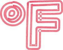 Abstract die Fahrenheit-Symbool met rode teller wordt gemaakt Stock Afbeeldingen