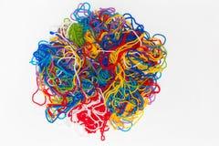 Abstract die patroon van garen, de bos van Kleurendraden op wit wordt geïsoleerd Royalty-vrije Stock Foto