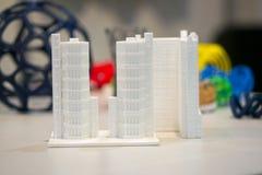 Abstract die voorwerp door 3d printerclose-up wordt gedrukt Stock Fotografie