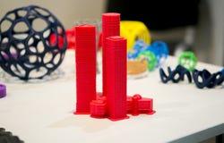 Abstract die voorwerp door 3d printerclose-up wordt gedrukt Stock Afbeeldingen