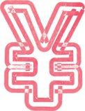 Abstract die Yen Symbol met rode teller wordt gemaakt Stock Foto