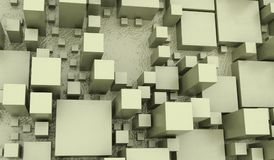Abstract Different Size Cubes Closeup. 3D Rendering Of Abstract Different Size Cubes Closeup royalty free illustration