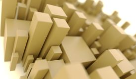 Abstract Different Size Cubes Closeup. 3D Rendering Of Abstract Different Size Cubes Closeup With Soft Focus Stock Images