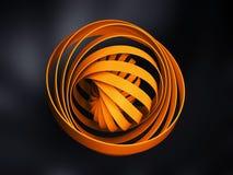 Abstract digitaal die voorwerp van gele 3d ronde spiraal wordt gemaakt Royalty-vrije Stock Afbeeldingen