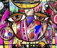 Abstract digitaal het schilderen kunstwerk van krabbeluil royalty-vrije illustratie