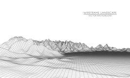 Abstract digitaal landschap met deeltjespunten en sterren op horizon Stock Illustratie
