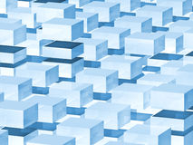 Abstract digital 3d background with blue boxes. Pattern royalty free illustration