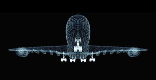 Abstract digital airplane. Consisting of luminous lines and dots. 3d illustration on a black background Royalty Free Stock Images