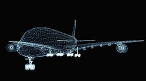Abstract digital airplane. Consisting of luminous lines and dots. 3d illustration on a black background Stock Photo
