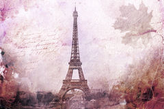 Abstract digital art of Eiffel Tower in Paris, purple. Old paper. Postcard, high resolution, printable on canvas Royalty Free Stock Image