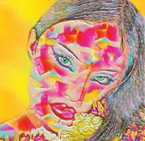 Abstract digital art of floral and woman's face combined. Stock Photography