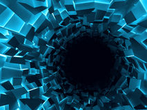 Abstract digital background, black hole. Abstract digital background, blue and black tunnel interior with dark end and walls made of shining technological stock illustration