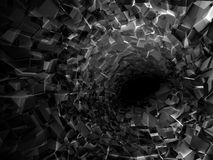 Abstract digital background, black tunnel. Interior with dark end and walls made of technological chaotic blocks, 3d illustration royalty free illustration