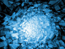 Abstract digital background, blue tunnel Royalty Free Stock Image