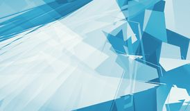 Abstract digital background, blue and white. Polygons, minimalism pattern. Computer graphic, 3d render illustration Royalty Free Stock Images