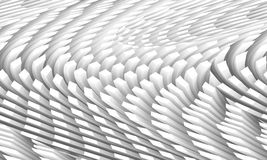 Abstract digital background with curved ceiling surface. Formed by white columns area array, 3d illustration with shear effect Royalty Free Stock Images