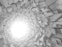 Abstract digital background, 3d tunnel. Abstract digital background, white tunnel interior with walls made of technological chaotic blocks. 3d illustration Royalty Free Stock Image