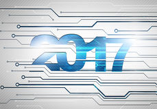 Abstract digital background with happy new 2017 year concept. Abstract digital background with happy new 2017 year technology chip concept Royalty Free Stock Photos