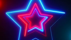 Abstract digital background with neon stars. CG animation 3d rendering