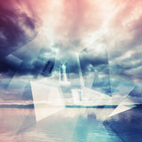 Abstract digital background with polygons and clouds Royalty Free Stock Photos