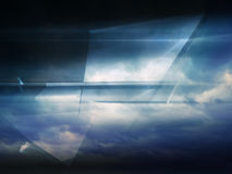 Abstract digital background, shining polygons. Abstract digital background, shining polygonal structure over dark cloudy sky. 3d illustration, computer graphic Stock Photo
