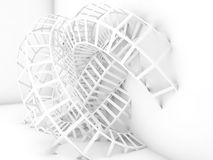Abstract digital background, white 3d wire-frame. Abstract digital background, white wire-frame structure. 3d render illustration stock illustration