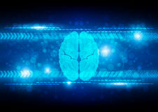 Abstract digital brain technology concept background. illustrati. On Royalty Free Stock Images