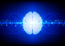 Abstract digital brain technology concept. illustration vector d Royalty Free Stock Photo